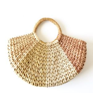 Vintage | Wicker Halfmoon Handbag